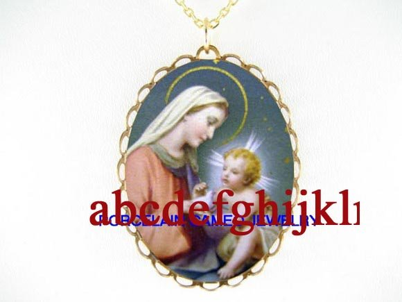 VIRGIN MARY BABY JESUS DOVE  * CAMEO PORCELAIN NECKLACE