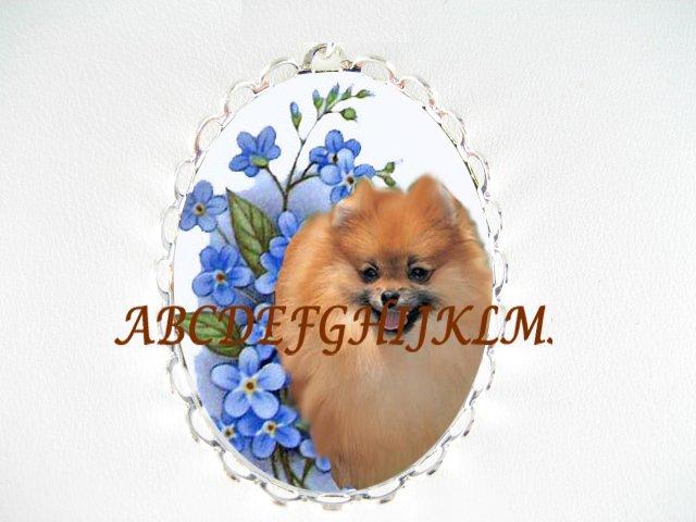 POMERANIAN DOG FORGET ME NOT CAMEO PORCELAIN PIN PENDANT
