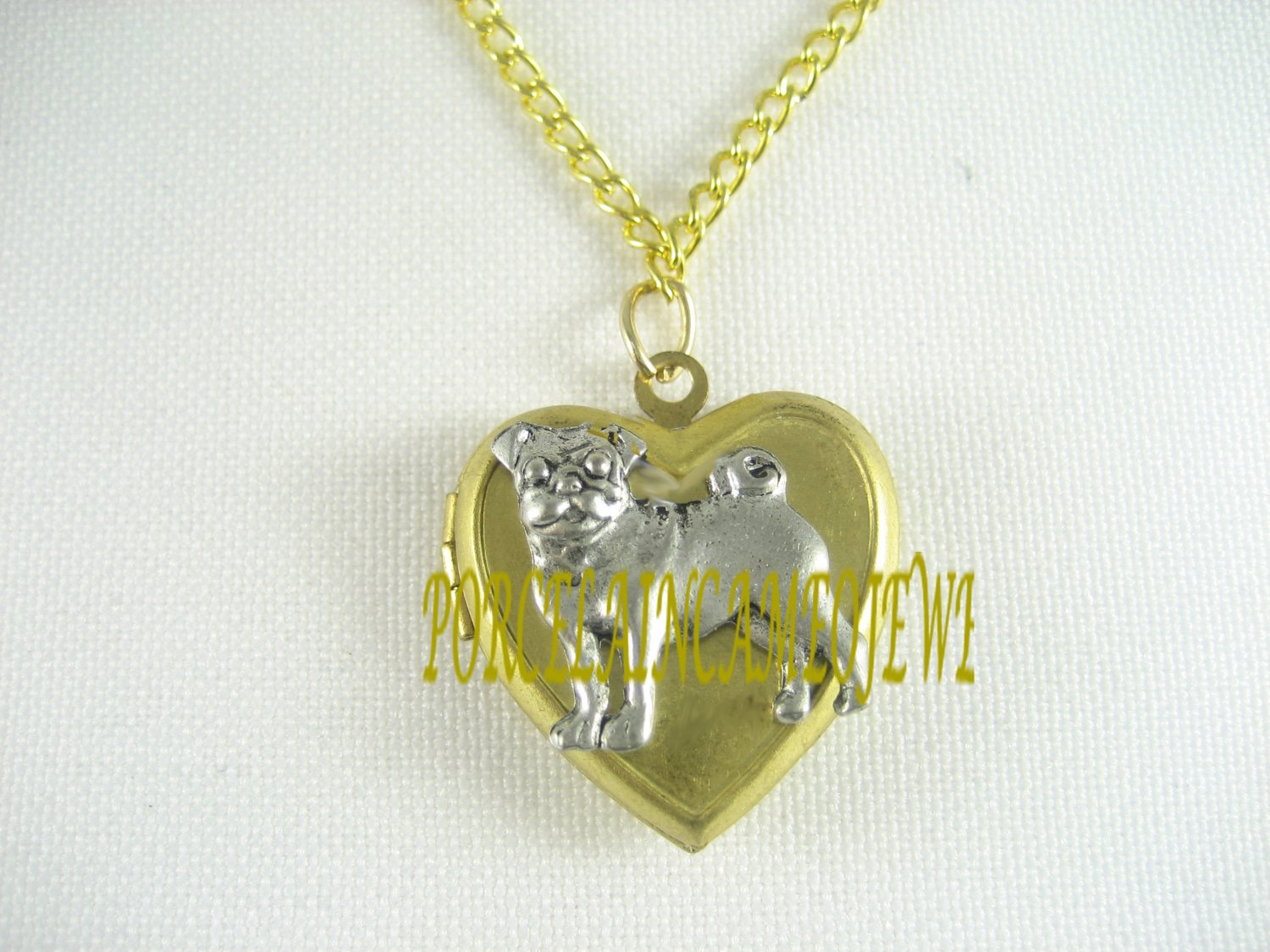 2 TONE PUG DOG VINTAGE ANTIQUE HEART LOCKET NECKLACE