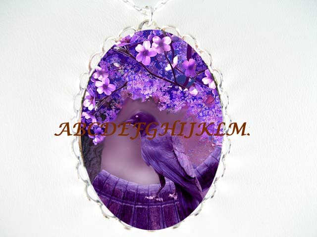CROW RAVEN PURPLE DOGWOOD NIGHT LAKE *CAMEO PORCELAIN NECKLACE