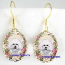 SMILING BICHON FRISE DOG ROSE PORCELAIN CAMEO EARRINGS