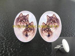 .2 loving grey wolf wolves Porcelain Cufflinks custom initial wedding