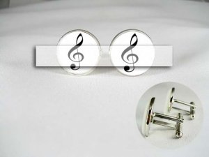 music note Porcelain men Cufflinks Monogram Custom groom Wedding Anniversary Husband gift