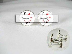 I found you follow heart porcelain men Cufflinks Groom Custom initial Wedding anniverary gift