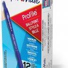Paper Mate Ballpoint Pen, Profile Retractable Pen, Medium Point (1.0mm), Blue, 12 Count