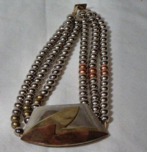 Vintage Necklace All Metal 1950-1960 by Audry Schenk