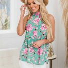 """TIE BACK FLORAL TOP - GREEN - """"SIZE 8/10 FREE SHIPPING OR PICK UP"""