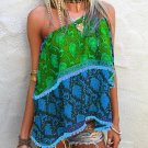 """OFF SHOULDER TOP - BLUE/GREEN - """"Size 4/6"""" FREE SHIPPING OR PICK UP"""