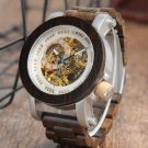 Mens Automatic Mechanical Watch K11 Classic Style Luxury Analog Wristwatch Wooden With Steel