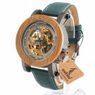 Automatic Mechanical Casual Luxury Watch Men Skeleton Bamboo Wooden With Steel
