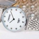 Ultrathin Rhinestone Watch For Men Silver White Stainless Steel Men's Quartz Wrist Watch