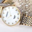 Ultrathin Rhinestone Watch For Men Gold White Stainless Steel Men's Quartz Wrist Watch
