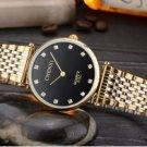 Ultrathin Rhinestone Watch For Men Gold Black Stainless Steel Men's Quartz Wrist Watch