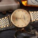 Ultrathin Rhinestone Watch For Men Gold Stainless Steel Men's Quartz Wrist Watch