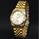Clock Golden White Fashion Men Watch Stainless Steel Quartz Watches Men
