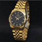 Clock Golden Black Fashion Men Watch Stainless Steel Quartz Watches Men