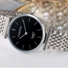 Ultrathin Watches Silver Black For Men Waterproof Stainless Steel Watch Male Quartz Watch