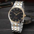 Men Quartz Watch Black Luxury Brand Men Stainless Steel Golden Wristwatch