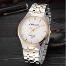 Men Quartz Watch White Luxury Brand Men Stainless Steel Golden Wristwatch