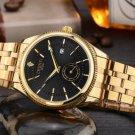 Gold Black Watch Men Top Brand Famous Wristwatch Quartz Wrist Watch Calendar