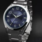 Digital Contracted Style Men's Fashion business Men Blue Steel Quartz Watch