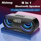 M6 Cool Owl Design Bluetooth Speaker LED Flash Wireless Loudspeaker FM Radio Alarm Clock