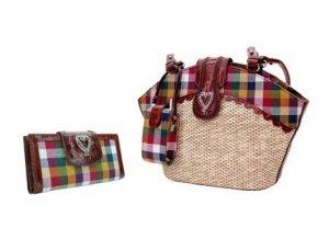 Brighton Inspired- Genuine Leather Trim Handbag with Genuine Leather Trim Wallet