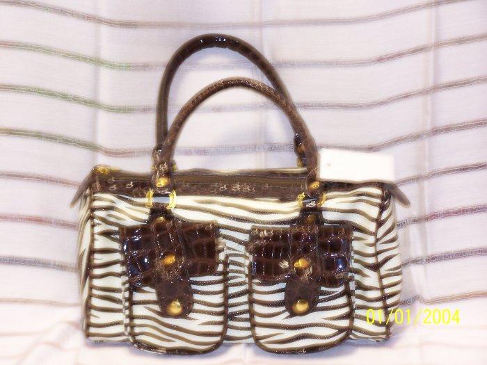 Designer Zebra Handbag Purse Hobo Croc Leather Lk