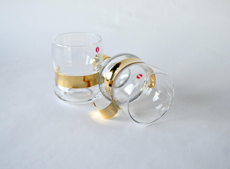 IITTALA of Finland PAULA Glasses, Design Jorma Vennola, Set of 2 Punch Glasses In Original Box