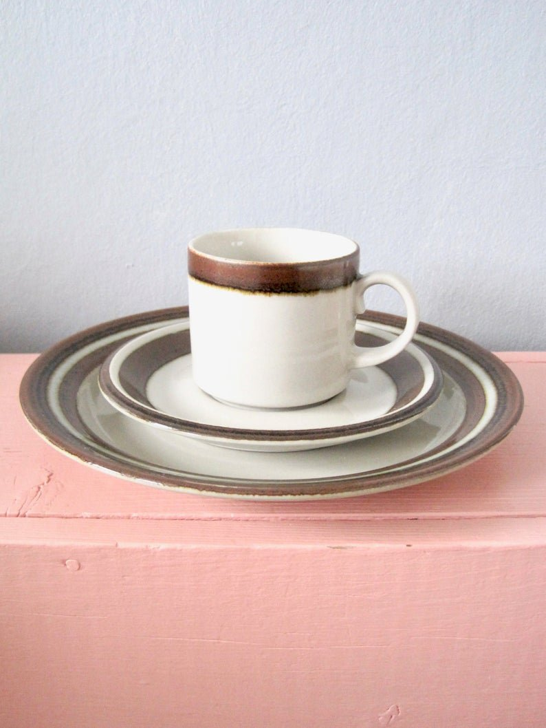 Arabia Finland KARELIA Demitasse Coffee Cup Set, Vintage Espresso Cup with Saucer and Dessert Plate