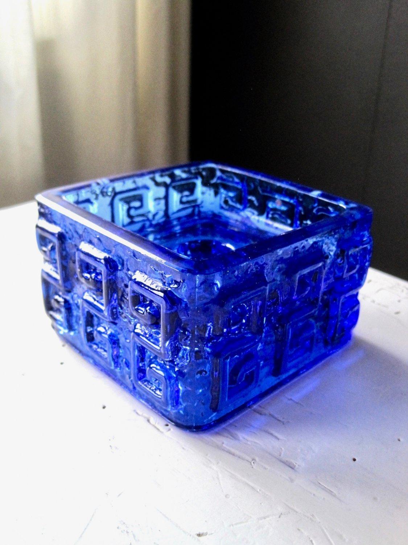 Riihimäen Lasi TAALARI Blue Glass Candleholder, Design Tamara Aladin, Vintage Riihimäki Glass