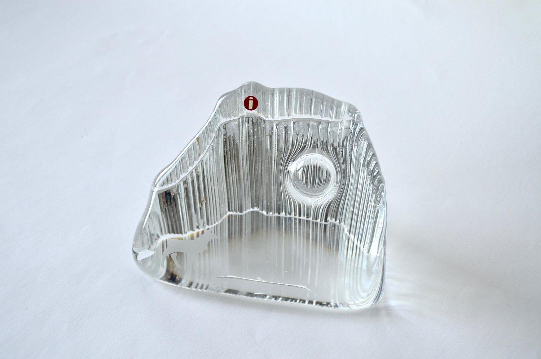 Vintage Iittala KUUTAMO TUNTURILLA Glass Paperweight, Original Box, Design Valto Kokko