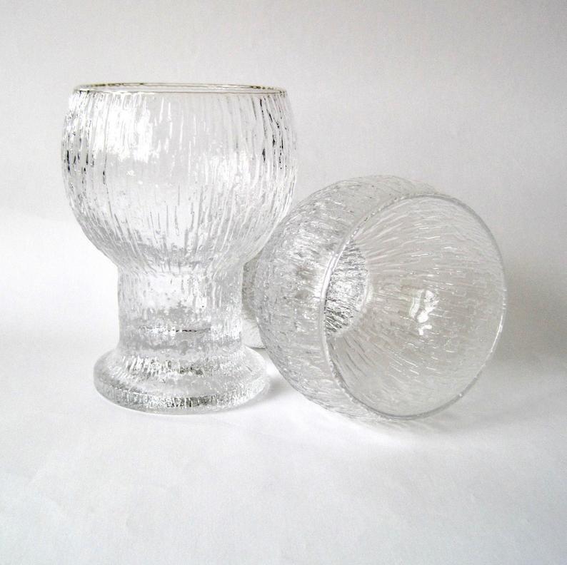Pair of Iittala KEKKERIT Large Wine Glasses, Design Timo Sarpaneva, Vintage Finnish Art Glass