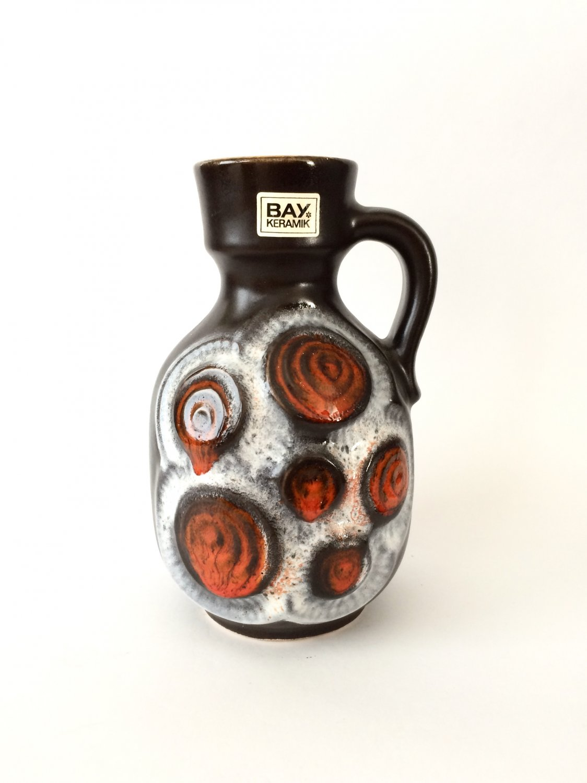 BAY Ceramic Jug Vase, Pattern 8517, Vintage Mid Century Modern West German Pottery Vase