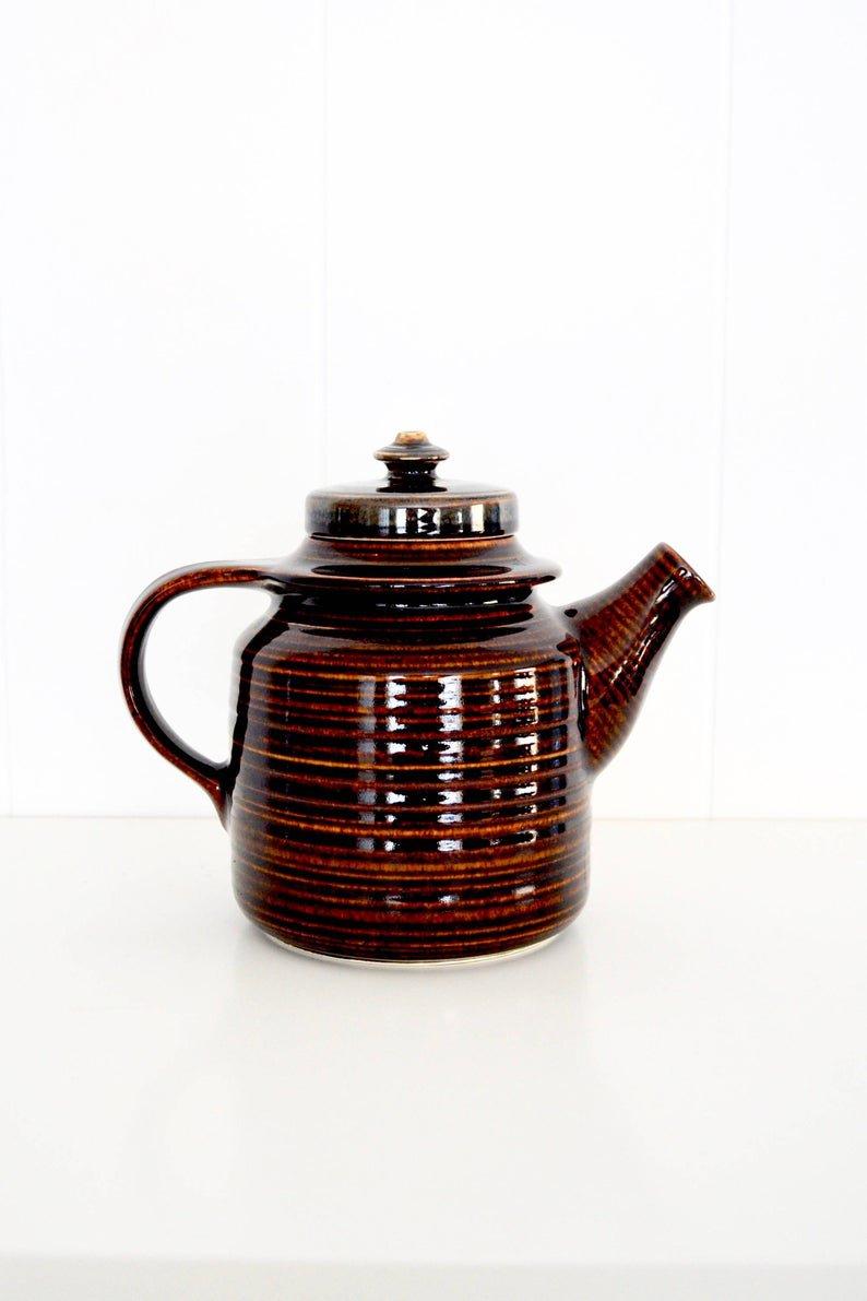 Arabia Finland MAHONKI Teapot, Ulla Procope & Göran Bäck, Vintage Mid Century Modern Arabia