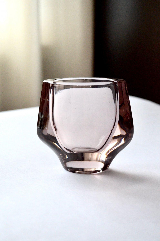 SKLO UNION Frantisek Vizner Small Glass Vase, Hermanova Hut Vase Pattern 20053