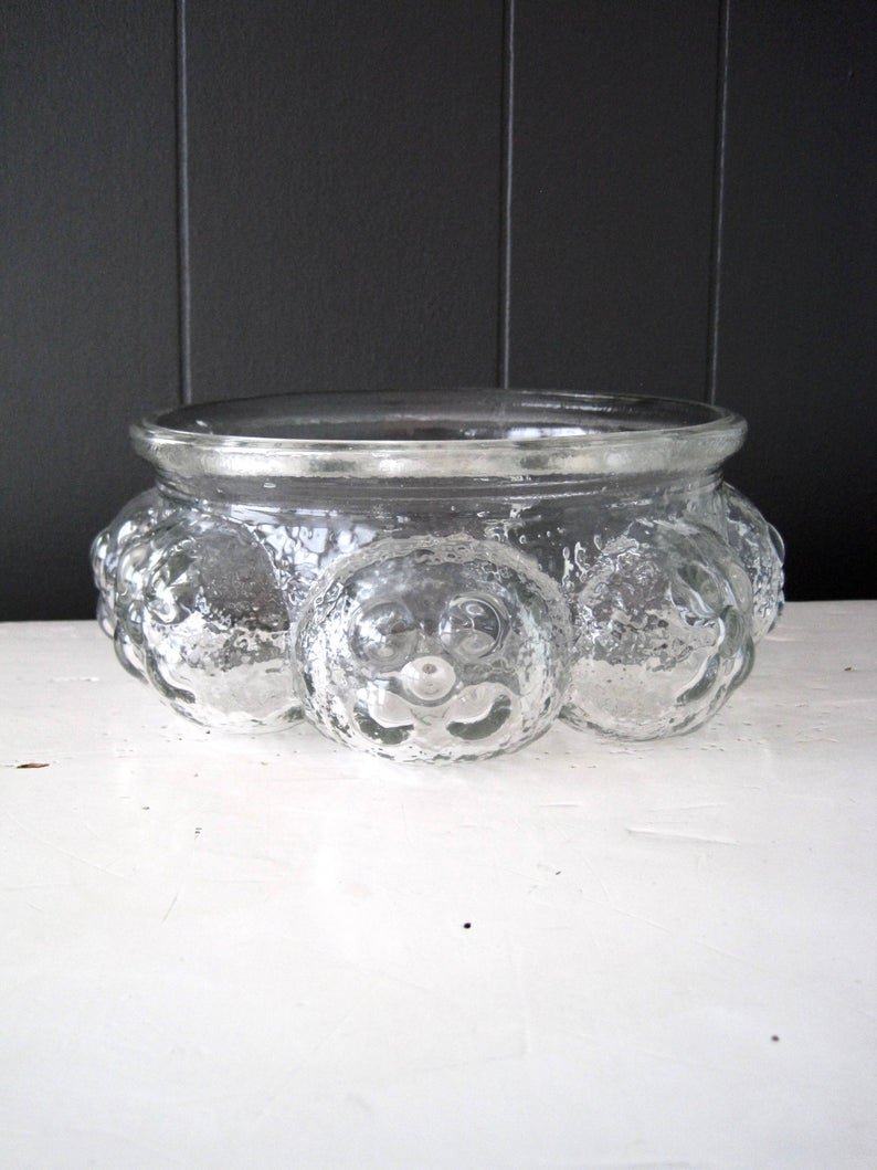 SKLO UNION Pavel Panek Glass Bowl, Libochovice Glassworks, Vintage Mid Century Modern Glass