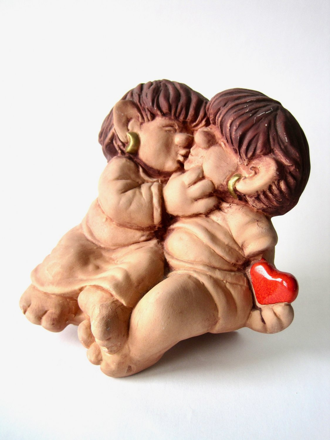 Vintage JIE Gantofta Kissing Trolls Ceramic Figurine, Trolls in Love, Design Ewa Jarenskog