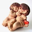 Vintage JIE Gantofta Kissing Trolls Ceramic Figurine, Trolls in Love, Design Ewa Jarenskog