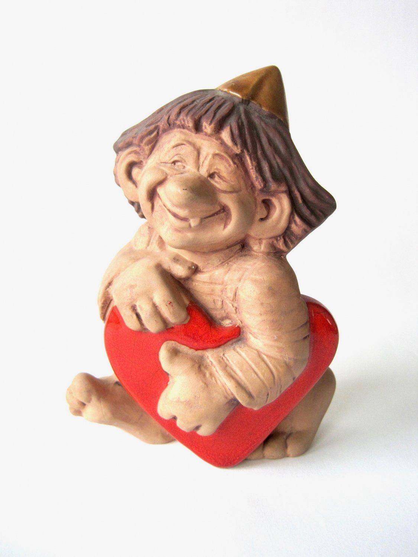 JIE Ceramic Troll Figurine, Troll with a Heart, Design Ewa Jarenskog, Vintage JIE Gantofta Sweden