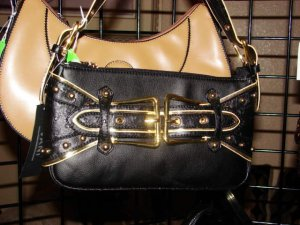 Small Black Handbag with gold buckles