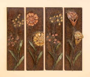 Autumn Rustic Flowers Metal Wall Decor Sculpture Art
