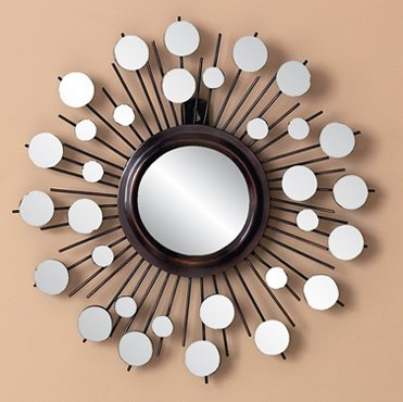 Cosmic Sunburst Metal Mirror Wall Decor Art Hanging