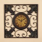 Fleur Di Lis Metal Decor Wall Clock Art Plaque Hanging