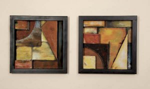 Autumn Angles Abstract Metal Wall Decor Plaque Hanging