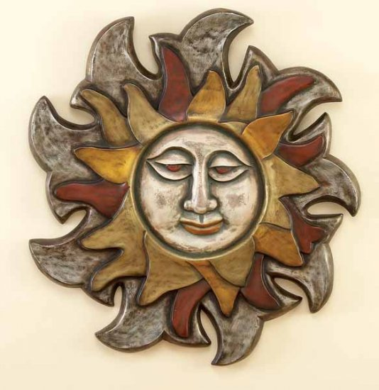 Mayan Sun Face Wall Decor Plaque Hanging Sculpture Art