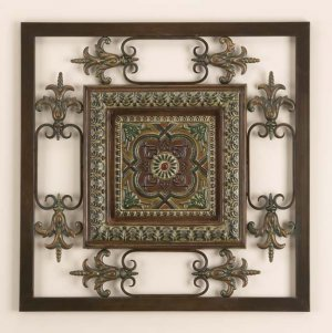 Square Metal Wall Plaque Decor Sculpture Hanging Art