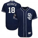 Padres 18 Austin Hedges Navy 50th Anniversary and 150th Patch FlexBase Jersey