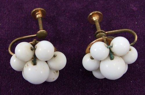 Vintage Pearl Like Flower Screw Post Earrings