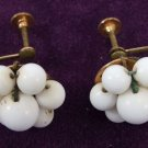 Vintage Pearl Like Flower Screw Post Earrings